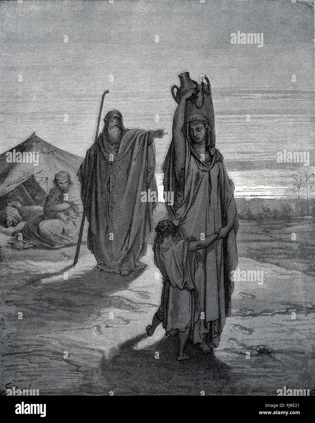 Expulsion of Hagar and Ishmael from the tent of Abraham (Genesis chapter XXI), illustration by Gustave Doré - Stock Image