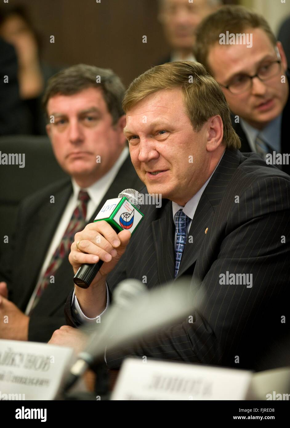 Alexei Krasnov, Director of Manned Space Programs Department as Roscosmos answers questions from reporters following - Stock Image