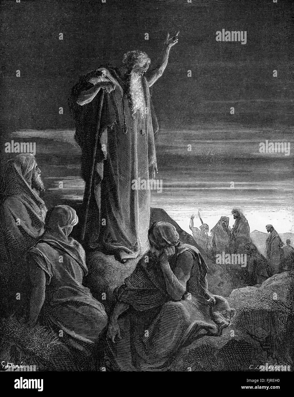 The prophet Ezekiel prophesying (Ezekiel chapter II), illustration by Gustave Doré (1832 – 1883) - Stock Image
