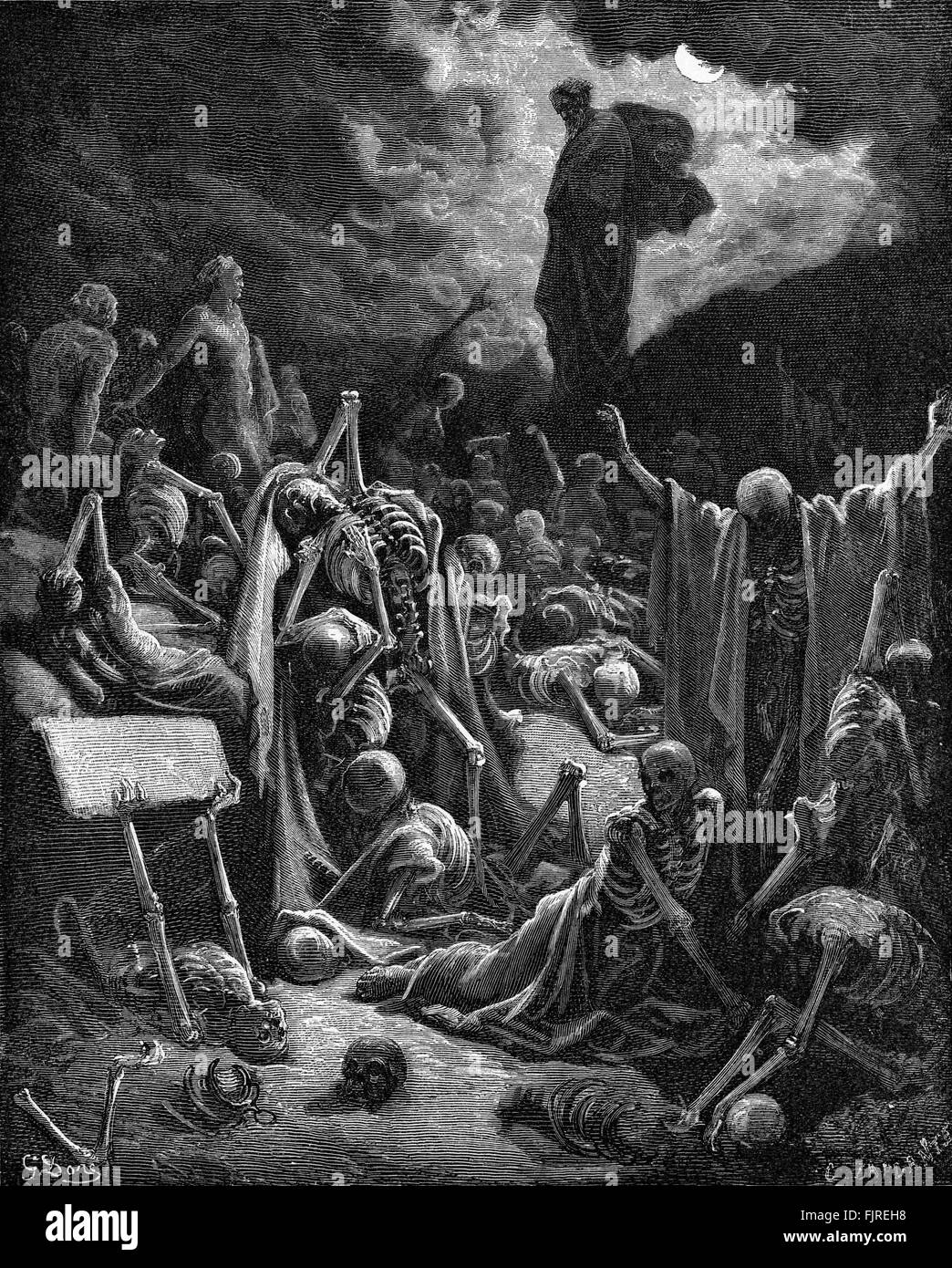 The prophet Ezekiel's vision of the Valley of Dry Bones (Ezekiel chapter XXXVII), illustration by Gustave Doré - Stock Image