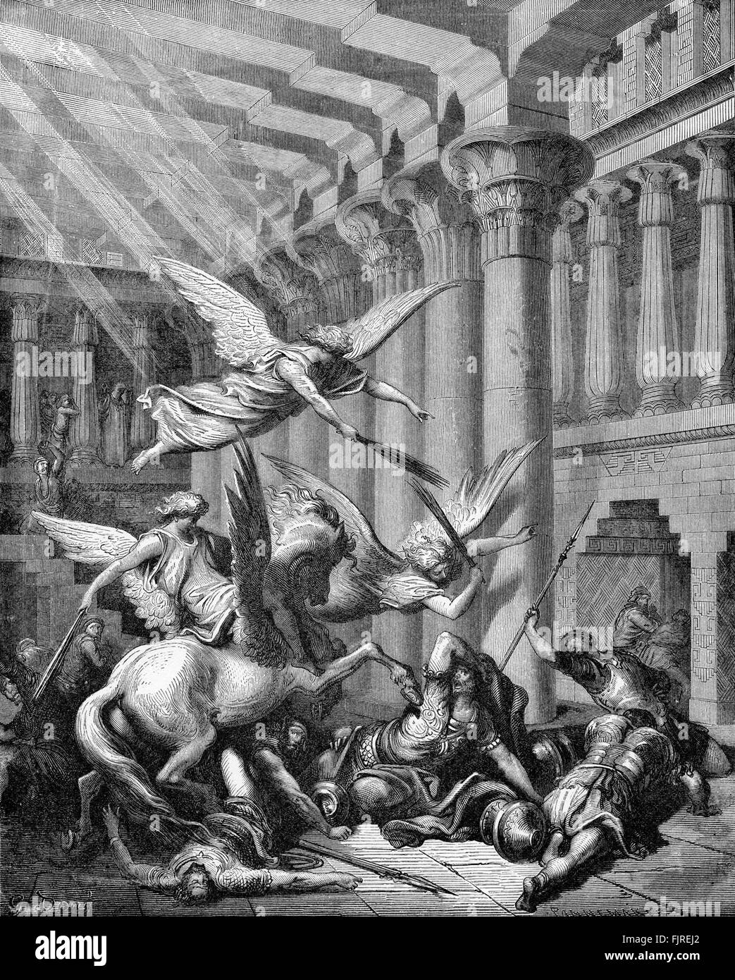Heliodorus punished in the temple (2 Maccabees chapter III), illustration by Gustave Doré (1832 – 1883) Stock Photo