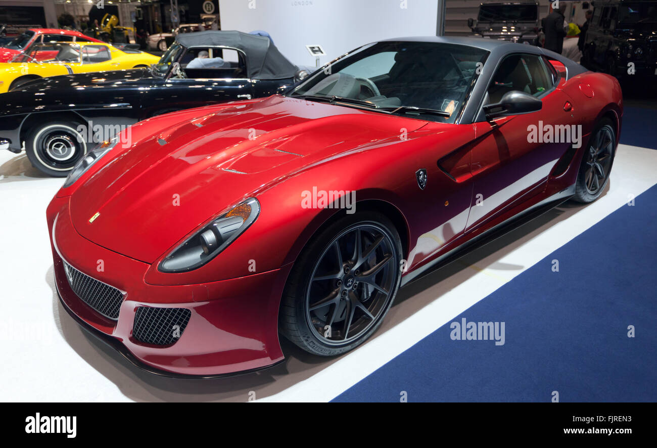 Three-quarter view of a  Ferrari 599 GTO, on display at the 2016 London Classic Car Show. - Stock Image