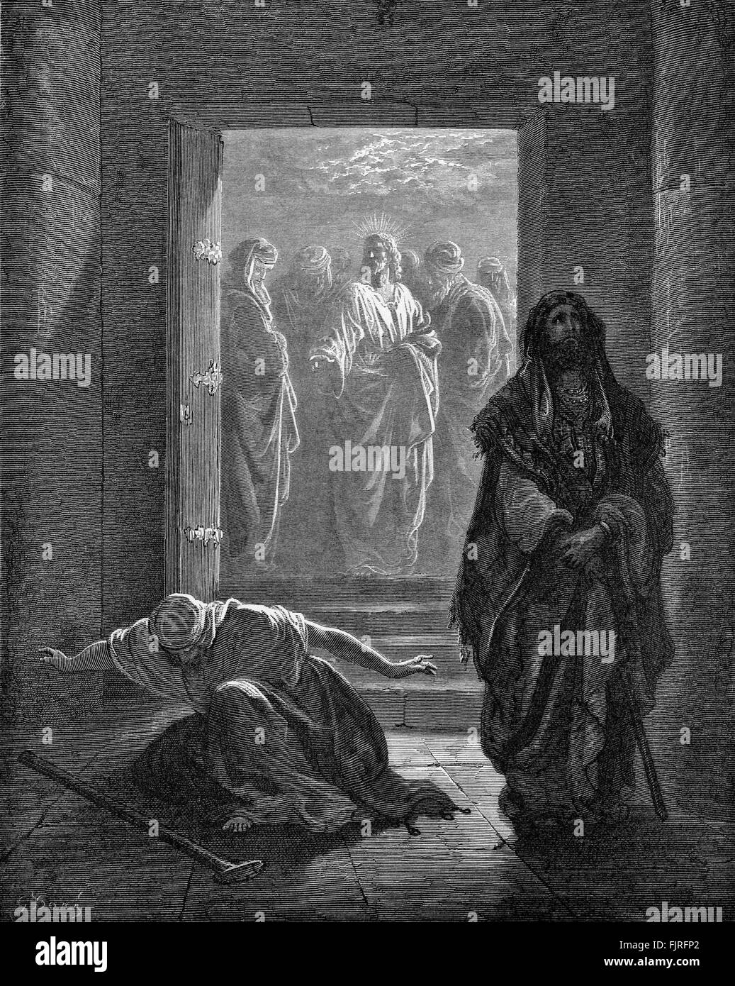 The parable of the pharisee and the publican (Luke chapter XVIII), illustration by Gustave Doré (1832 – 1883) - Stock Image