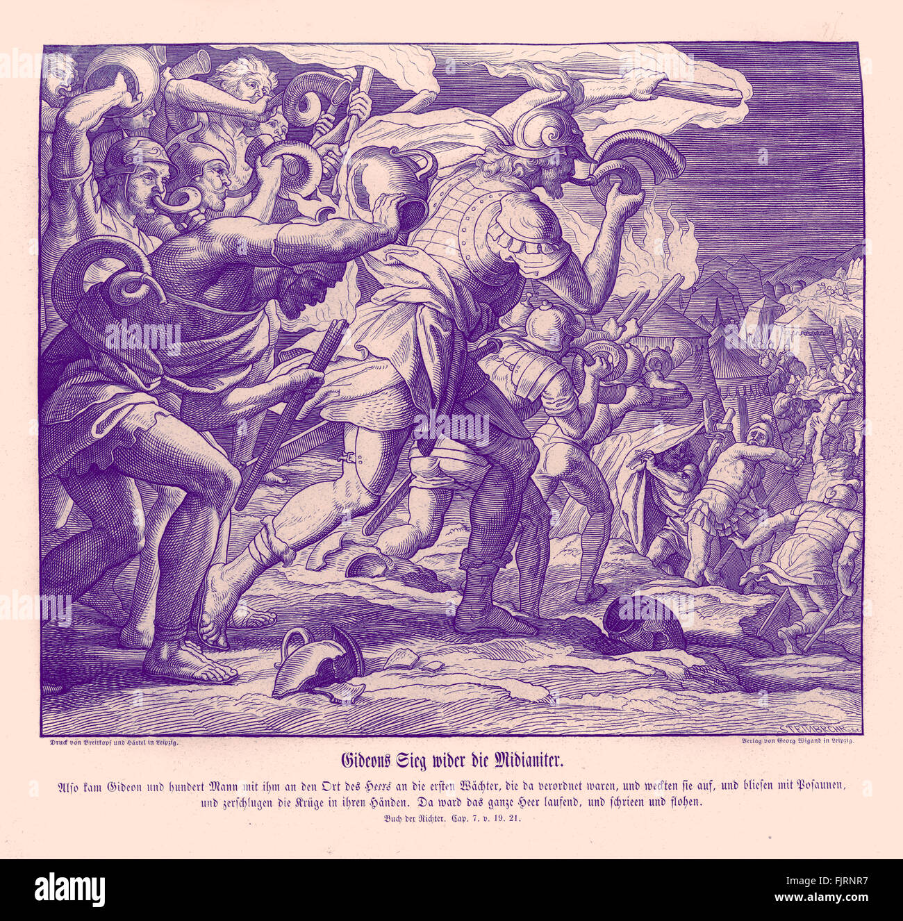 Gideon's victory against the Midianites, Judges chapter VII verses 19 - 21 'So Gideon, and the hundred men - Stock Image