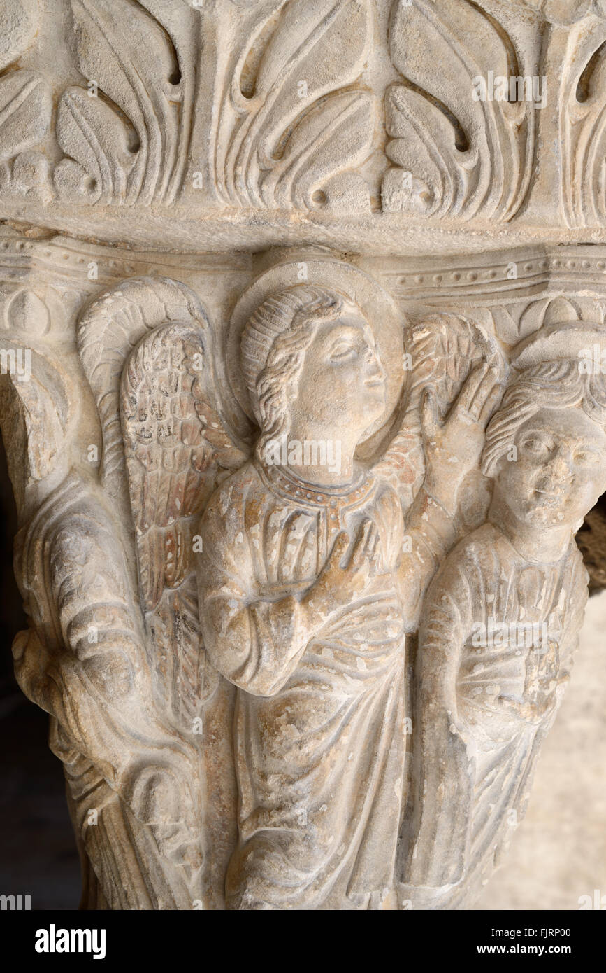 Romanesque Carving of Angel in the Cloisters of the Church of Saint Trophime Arles Provence France - Stock Image