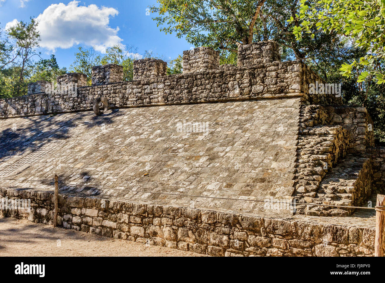 One Ballcourt Coba Yucatan Mexico - Stock Image