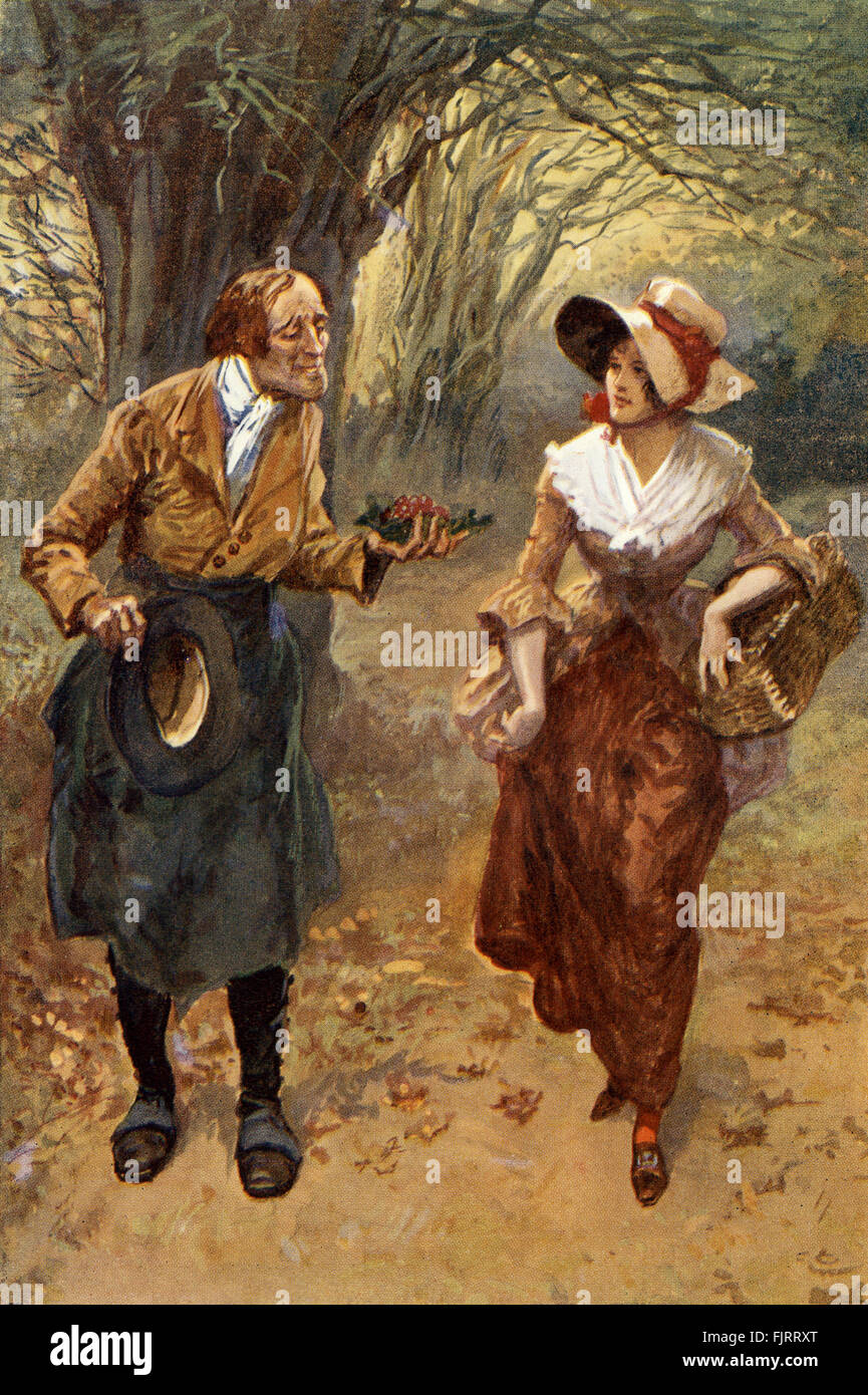 Adam Bede by George Eliot.  Illustrations by Gordon Browne. Hetty Sorrel and Mr. Craig the gardener. Caption reads: - Stock Image