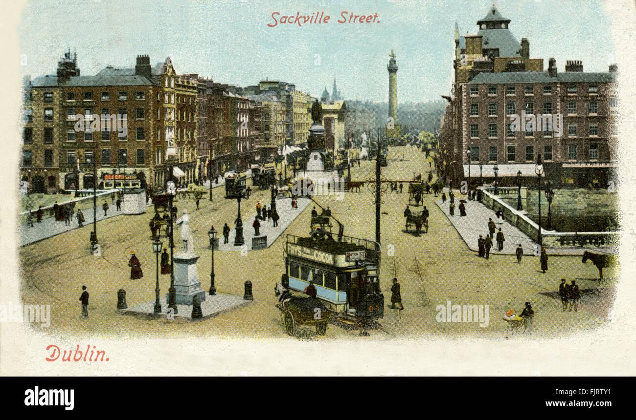 Sackville Street, Dublin, postcard, 1903 - Stock Image