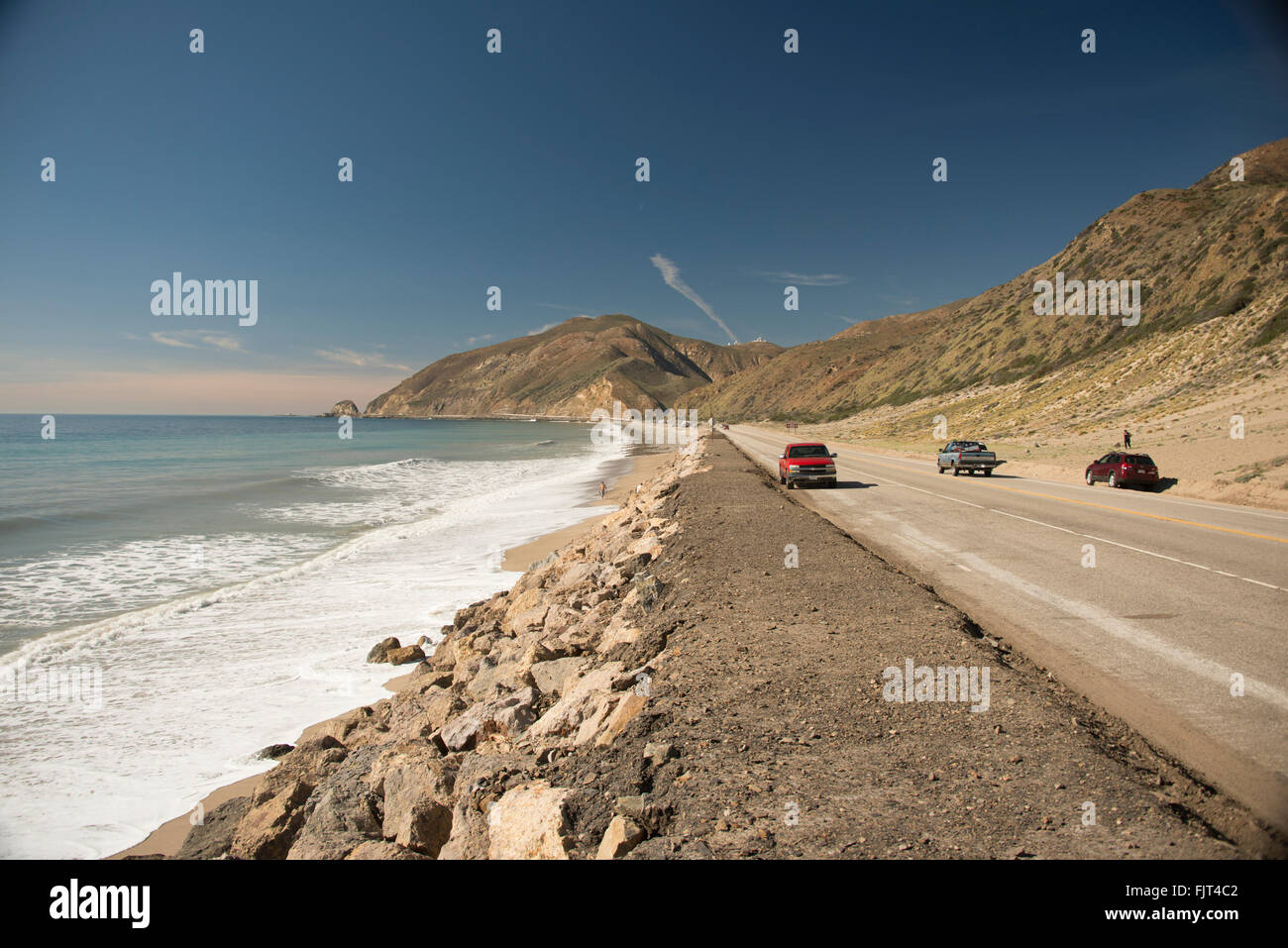 Pacific Coast Highway Route 1 parallels the Pacific Ocean near Malibu north of Los Angeles Southern California USA - Stock Image