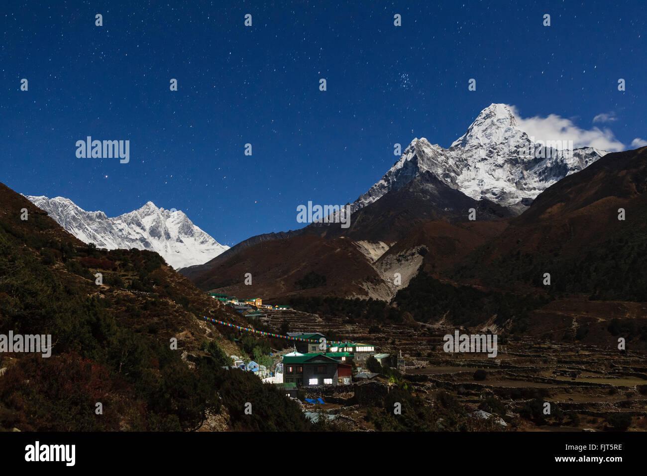 Moonlight over Pangboche. Sagarmatha National Park. Solukhumbu District. Nepal. - Stock Image