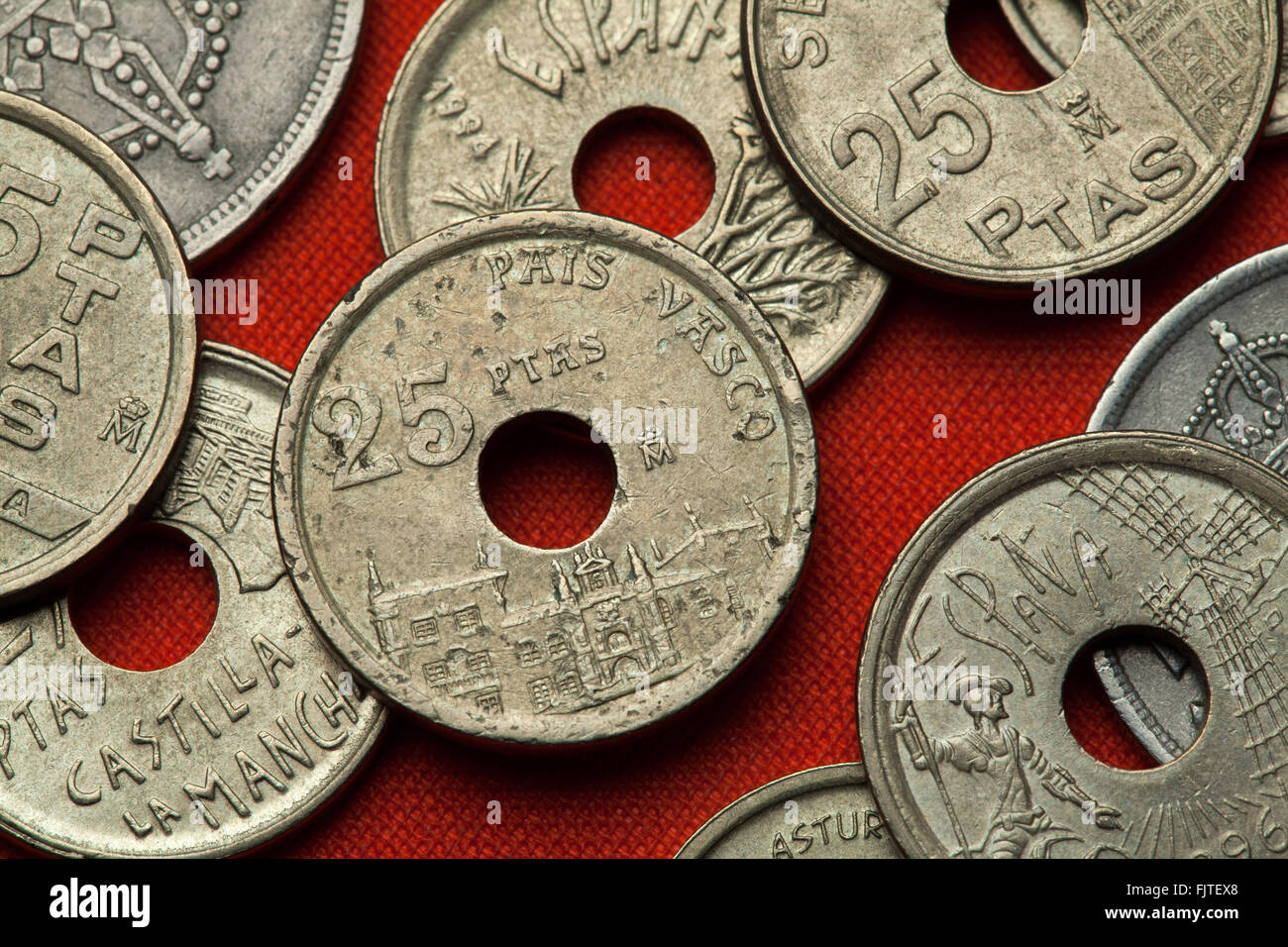 Coins of Spain. Onate University, Basque Country, Spain depicted in the Spanish 25 peseta coin (1993). - Stock Image