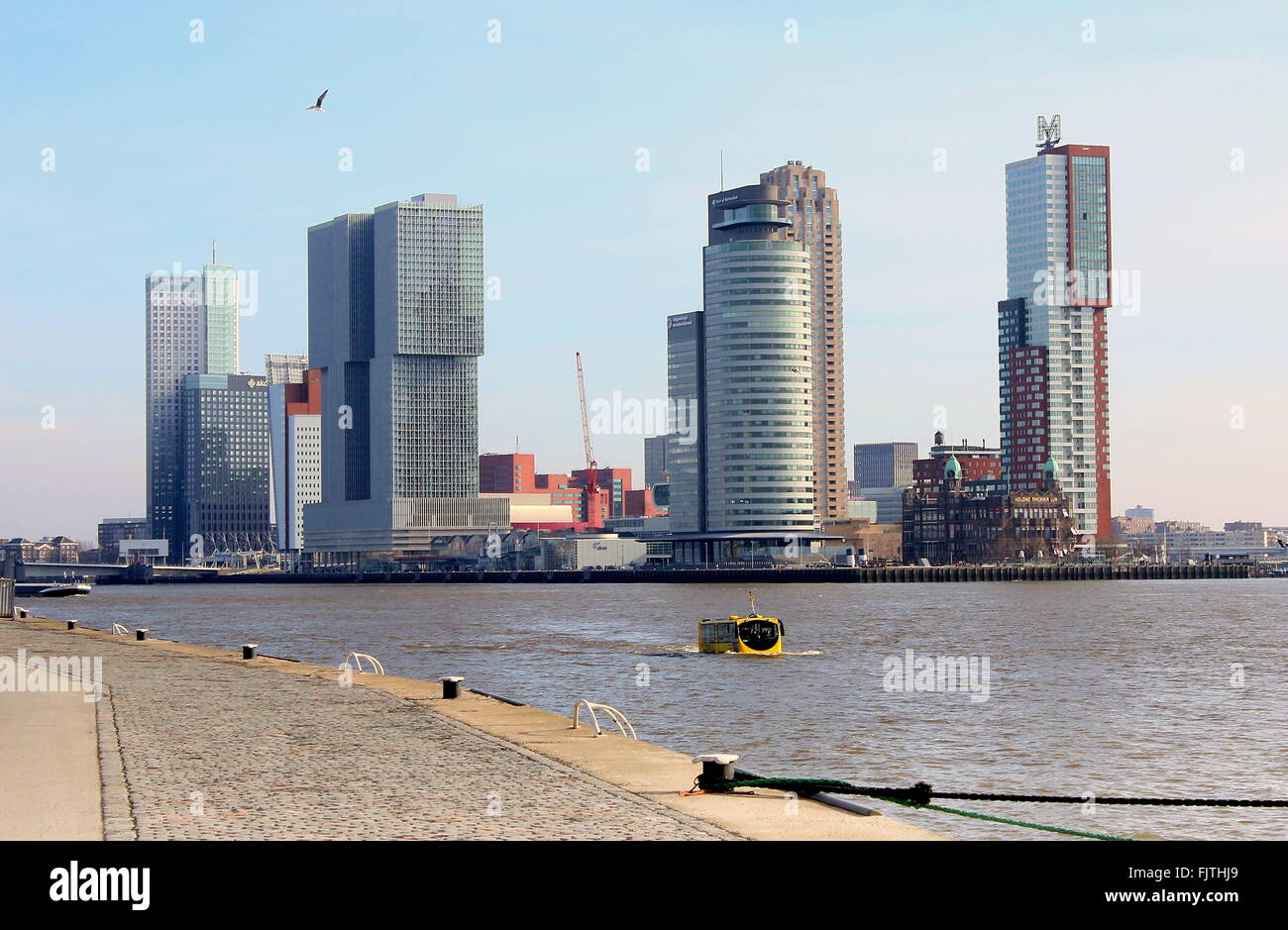 Iconic Rotterdam skyline. Maastoren (Deloitte HQ), De Rotterdam, World Port center & Montevideo skyscrapers - Stock Image