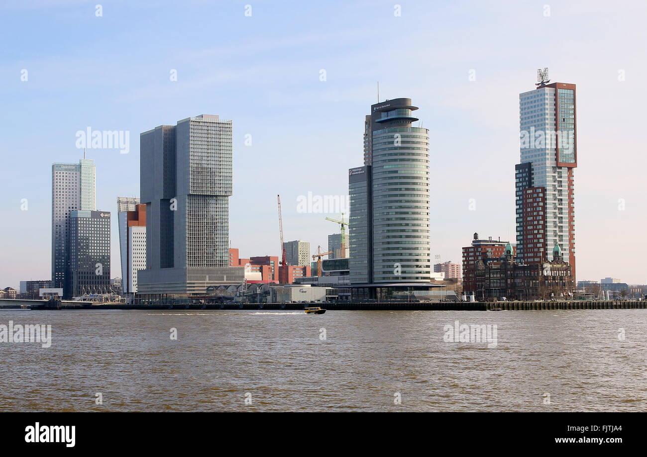 Iconic Rotterdam skyline. Maastoren (Deloitte HQ), De Rotterdam, World Port center & Montevideo skyscrapers + Hotel Stock Photo