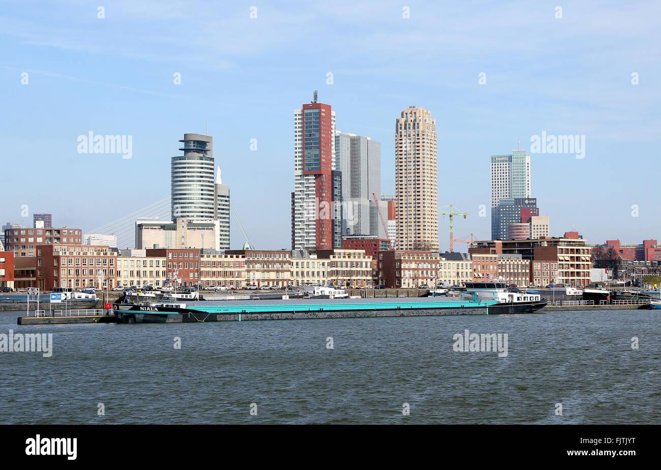 Kop van Zuid peninsula, Rotterdam, Netherlands. Skyline with World Port Center, Montevideo, De Rotterdam, New Orleans - Stock Image