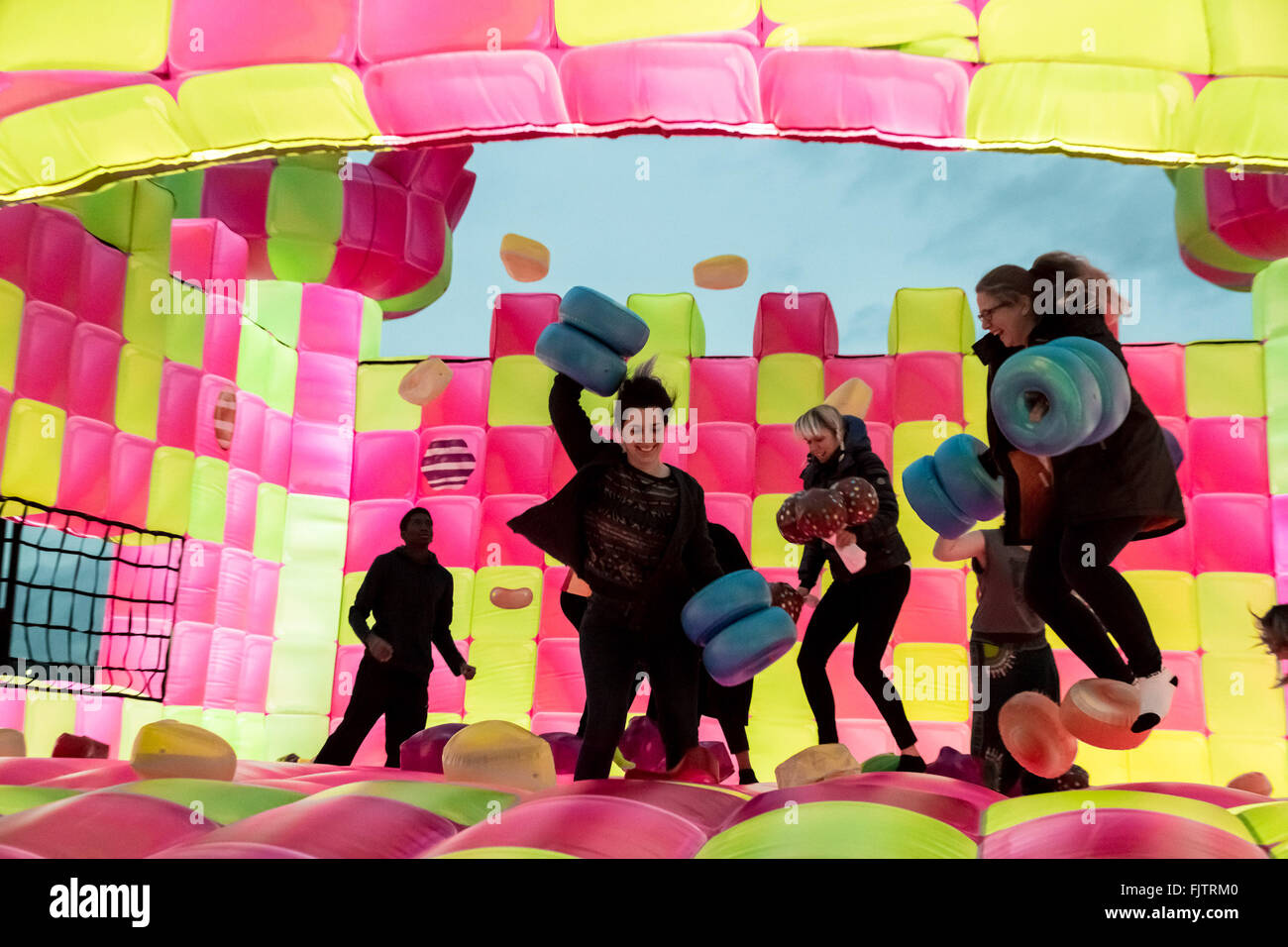 3rd march 2016 bouncingham castle candy crush jelly saga promo bouncy castle is launched near tower bridge credit guy corbishleyalamy live news