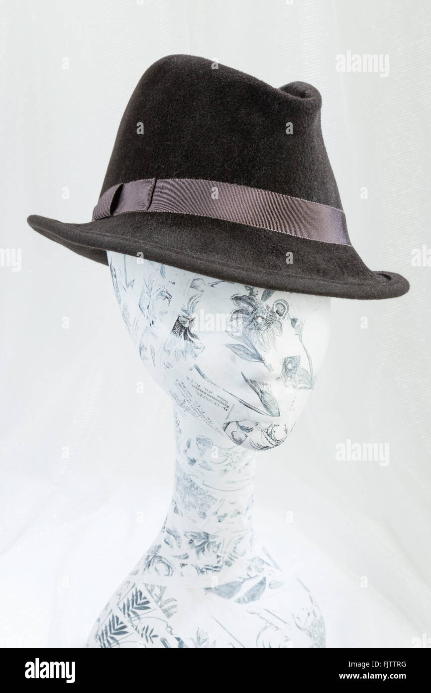 Single Hat on Head Form Still Life, USA - Stock Image