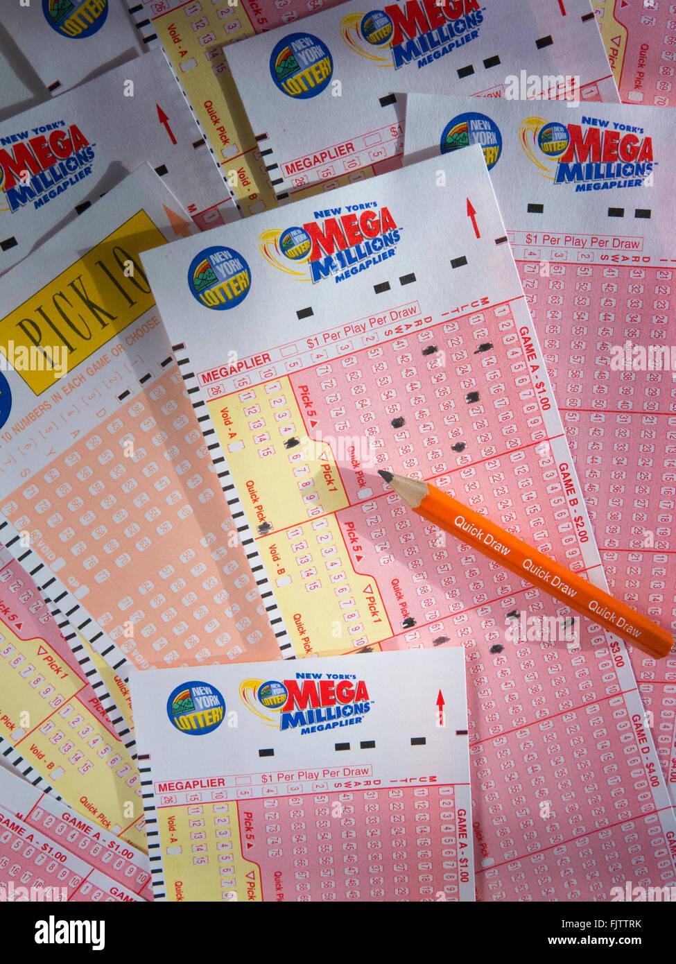 New York Lottery Mega Millions Playcard Still Life Usa Stock Photo Alamy