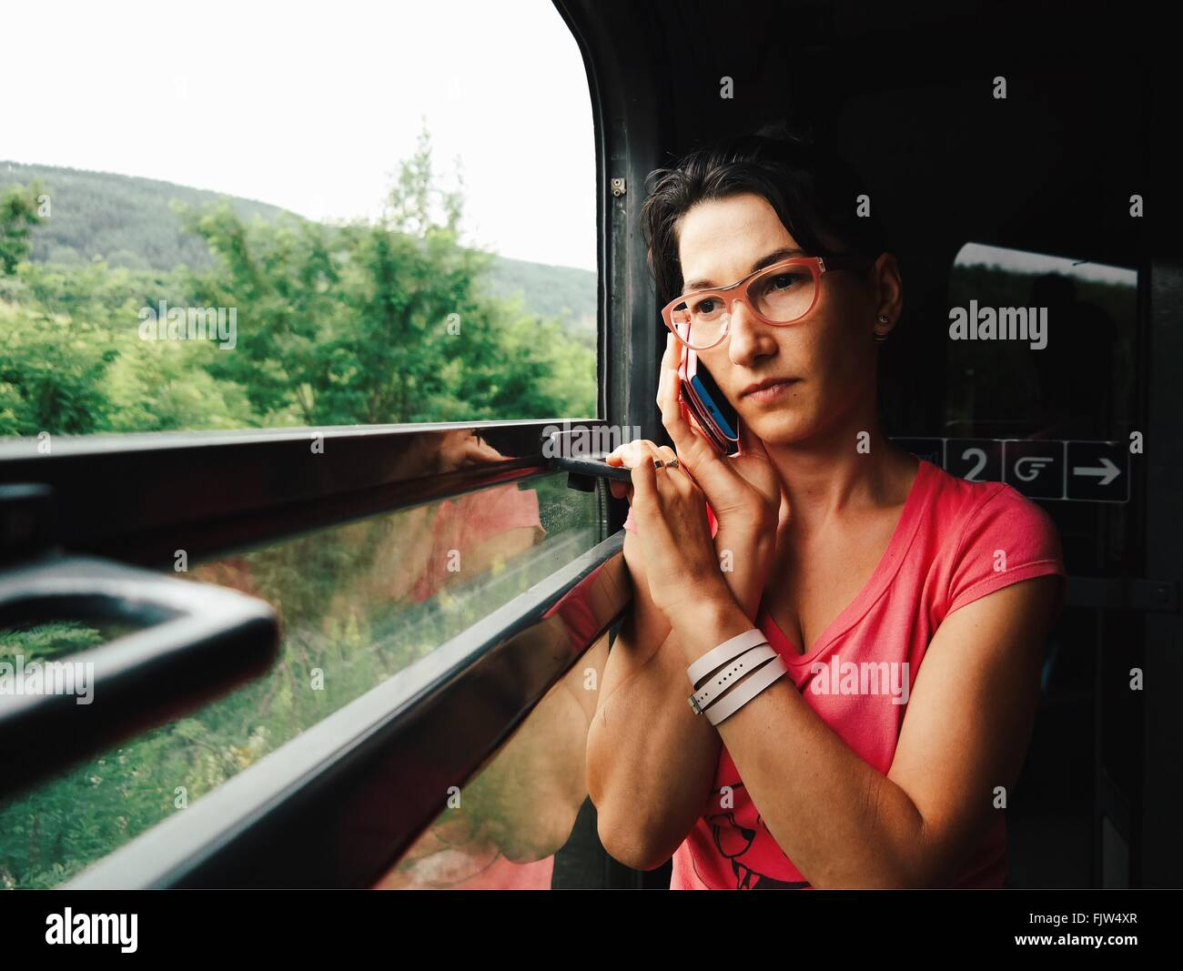 Close-up Of Woman On Train - Stock Image