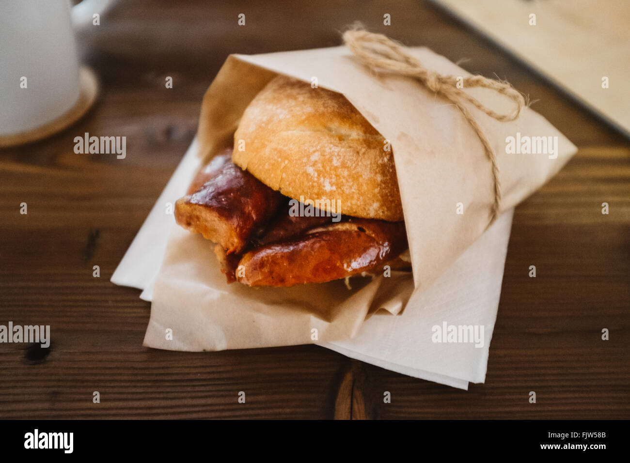 Close-Up Of Burger On Table - Stock Image