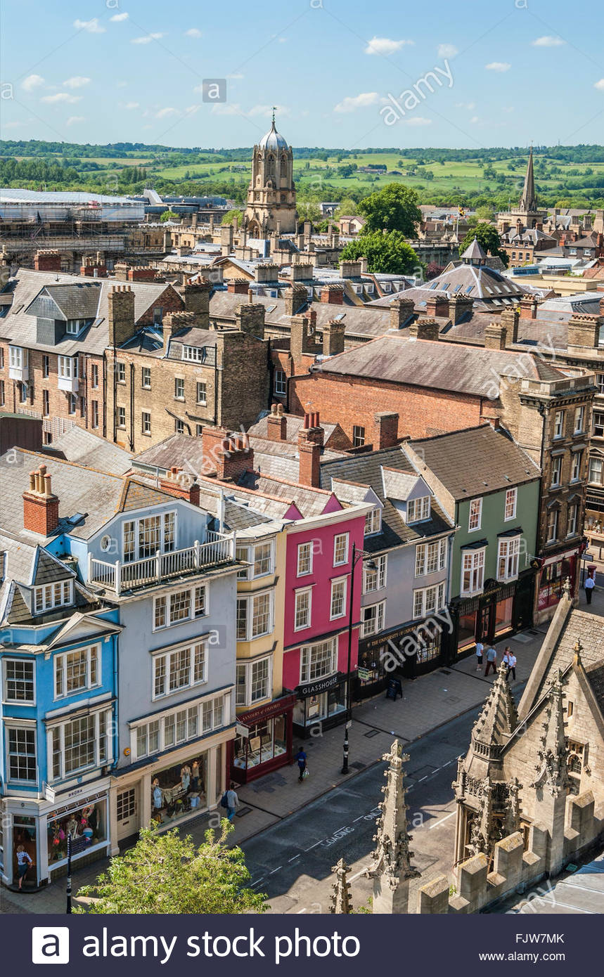 Medieval Skyline of the university city Oxford England. | Aussicht ueber die Altstadt von Oxford, England - Stock Image
