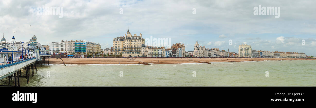 Panorama of Eastbourne Waterfront and coastline East Sussex, South England | Eastbourne Strand Panorama, Suedengland - Stock Image