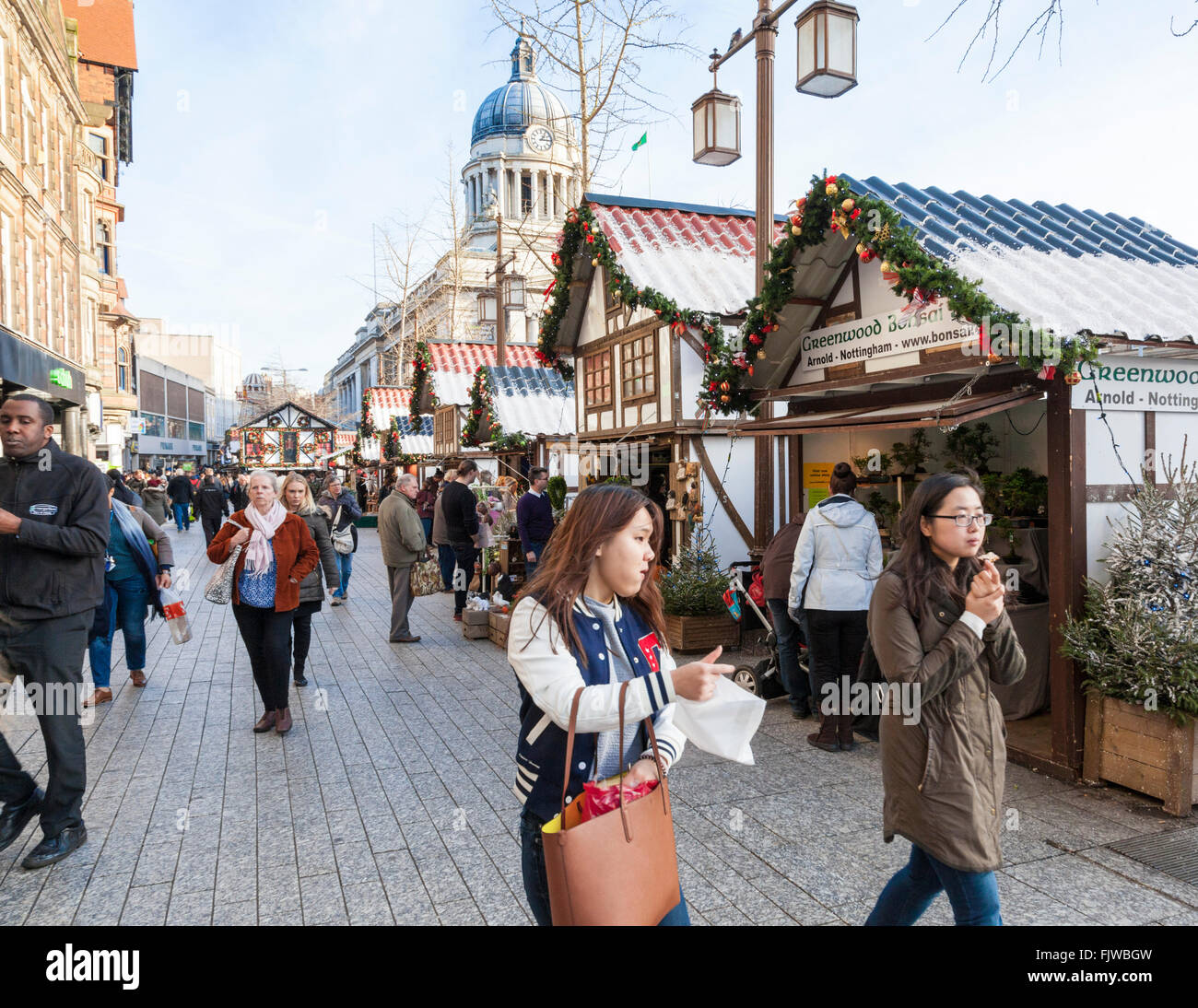 Nottingham Christmas Market, one of many Christmas markets now held in the UK. Long Row, Old Market Square, Nottingham, - Stock Image