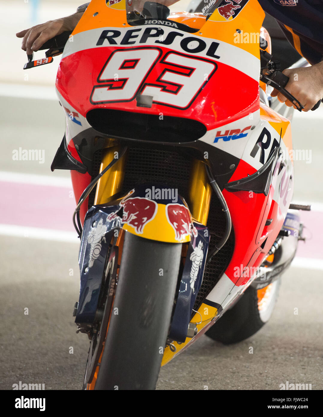 Doha, Qatar. 3rd March, 2016. The winglets on Marc Marquez bike during the second day of the final pre-season test - Stock Image