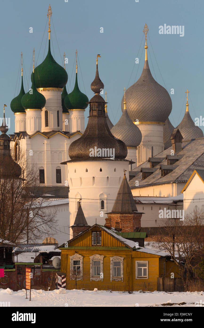 Winter view of medieval the Kremlin in Rostov the Great as part of The Golden Ring's group of medieval towns - Stock Image