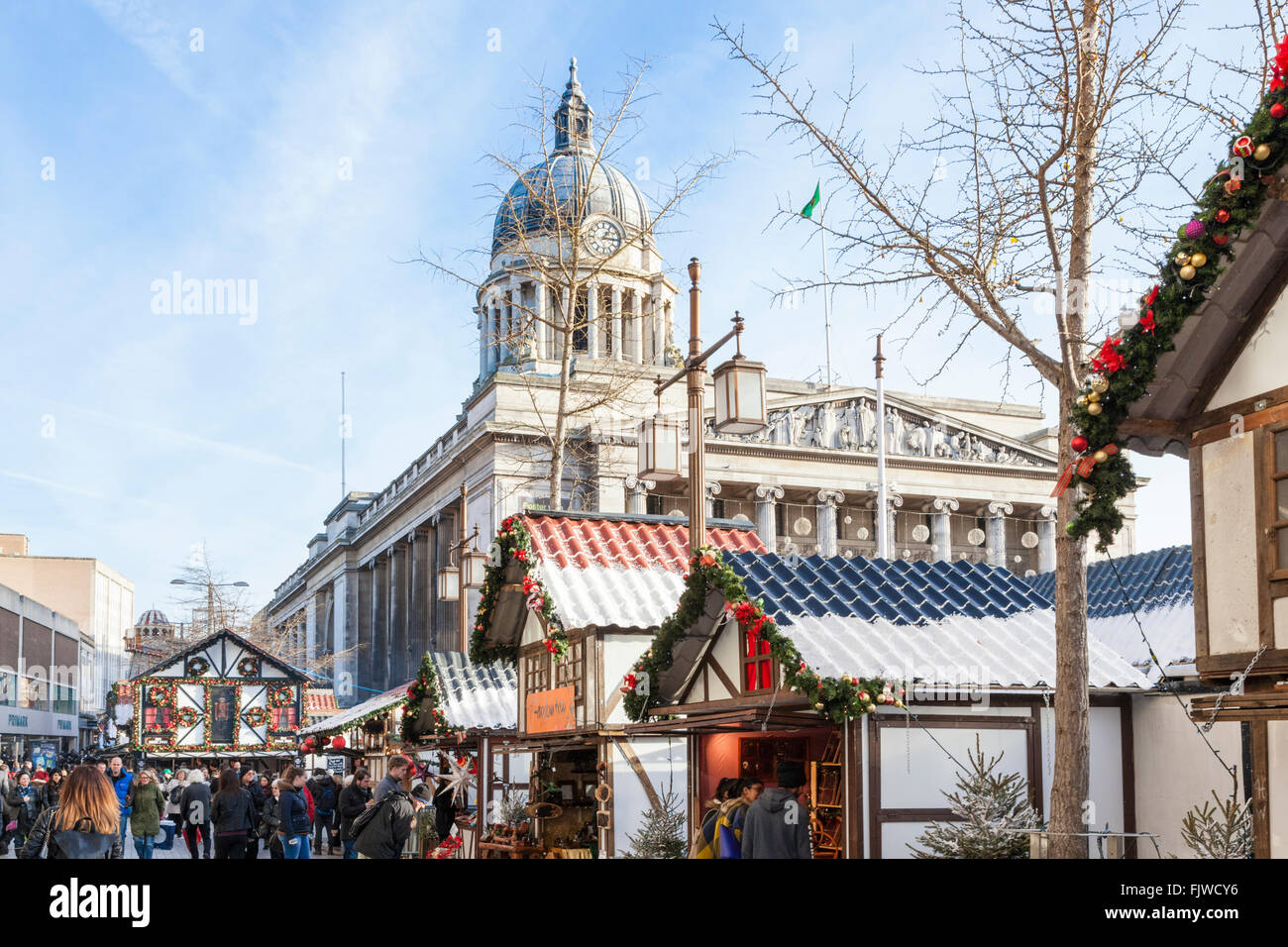 The Nottingham Christmas Market with the Council House in the background. The Old Market Square, Nottingham, England, - Stock Image