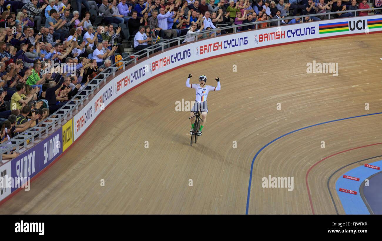 London, UK, 3 March 2016. UCI 2016 Track Cycling World Championships. Germany's Joachim Eilers celebrates after Stock Photo