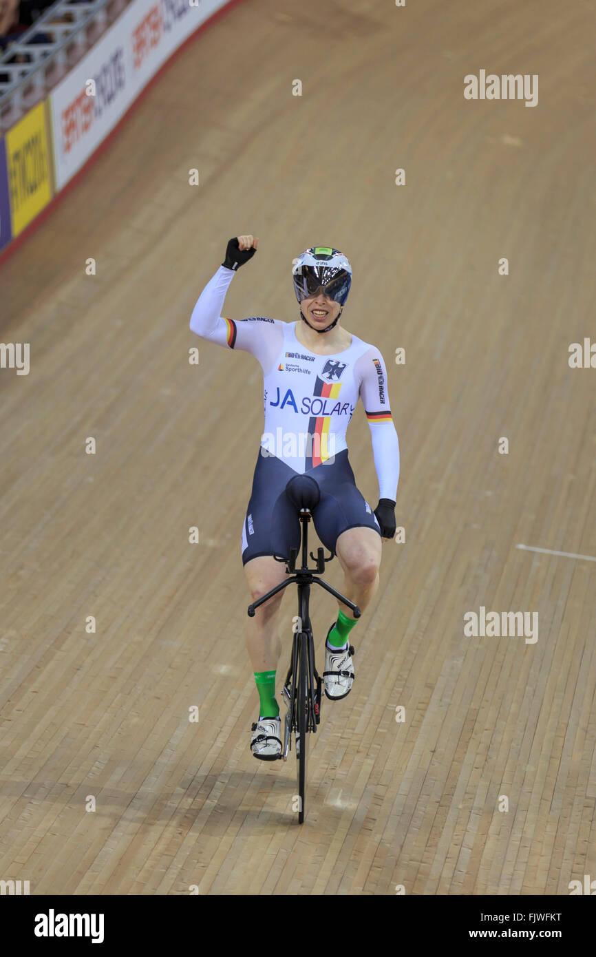 London, UK, 3 March 2016. UCI 2016 Track Cycling World Championships. Germany's Joachim Eilers celebrates after - Stock Image