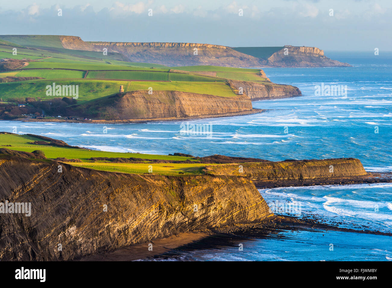 View from Gadd Cliff looking East towards Kimmeridge Bay and St Aldhelm's Head on Dorset's Jurassic Coast - Stock Image