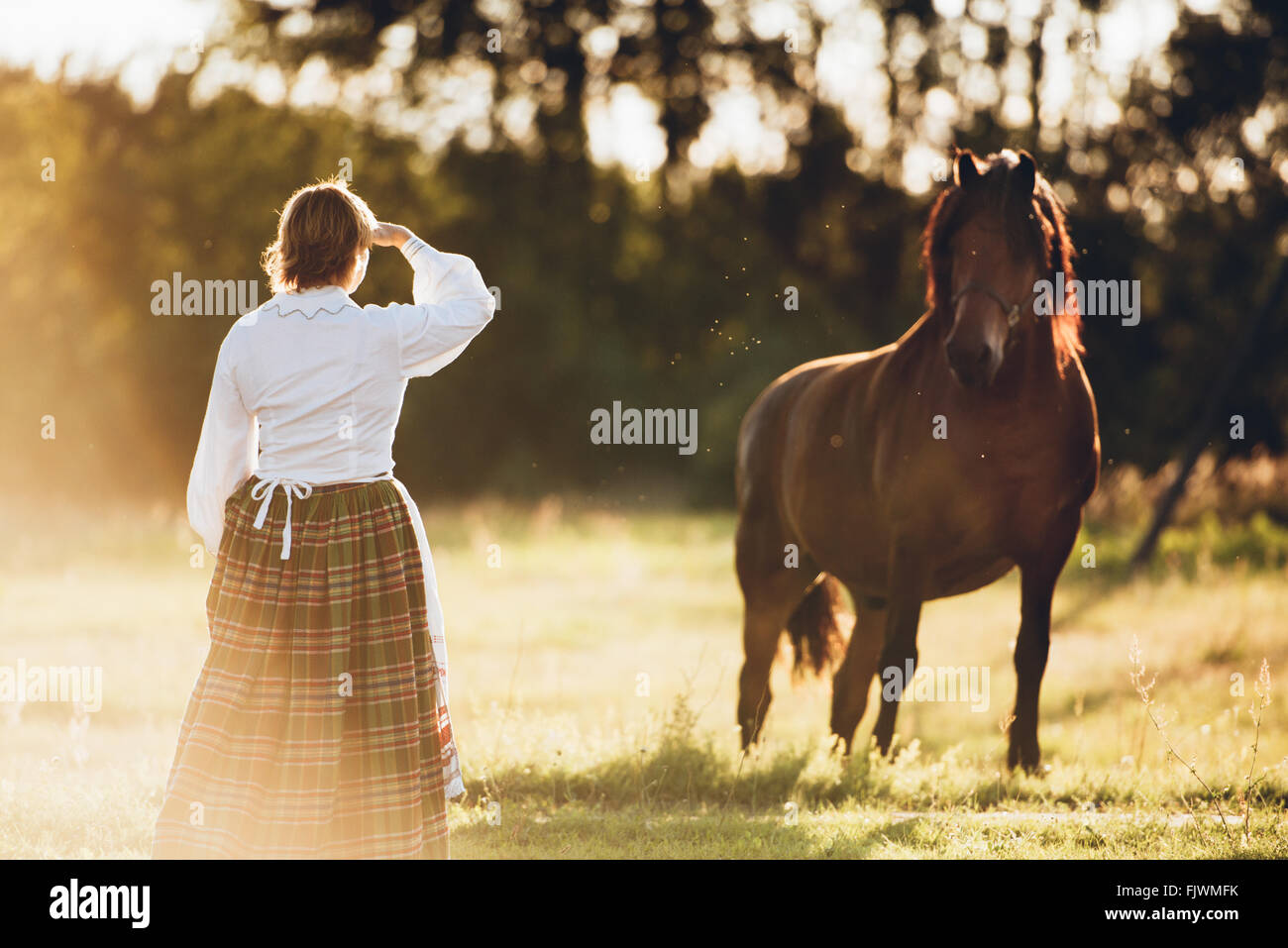 Rear View Of Woman And Horse Standing On Field - Stock Image