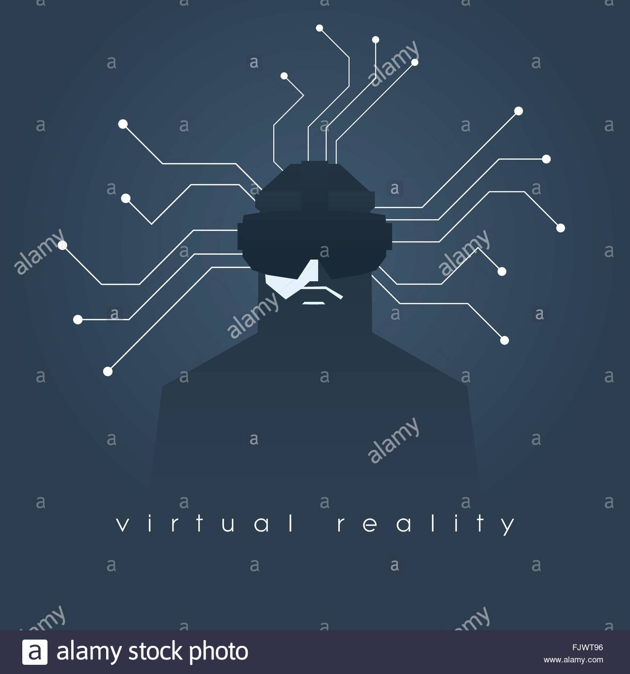 Virtual reality concept illustration with man and headset glasses. Dark background, lines as symbol of internet - Stock Image