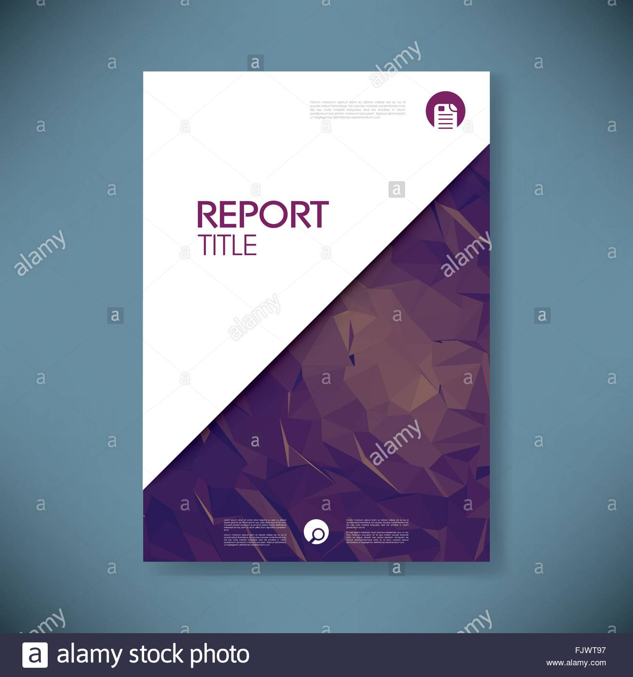 business report cover template on green low poly background  brochure stock vector art