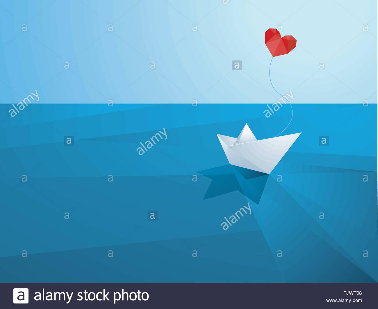 Valentines Day Card Design Template Low Poly Paper Boat With Heart Shaped Balloon Sailing Over The Waves