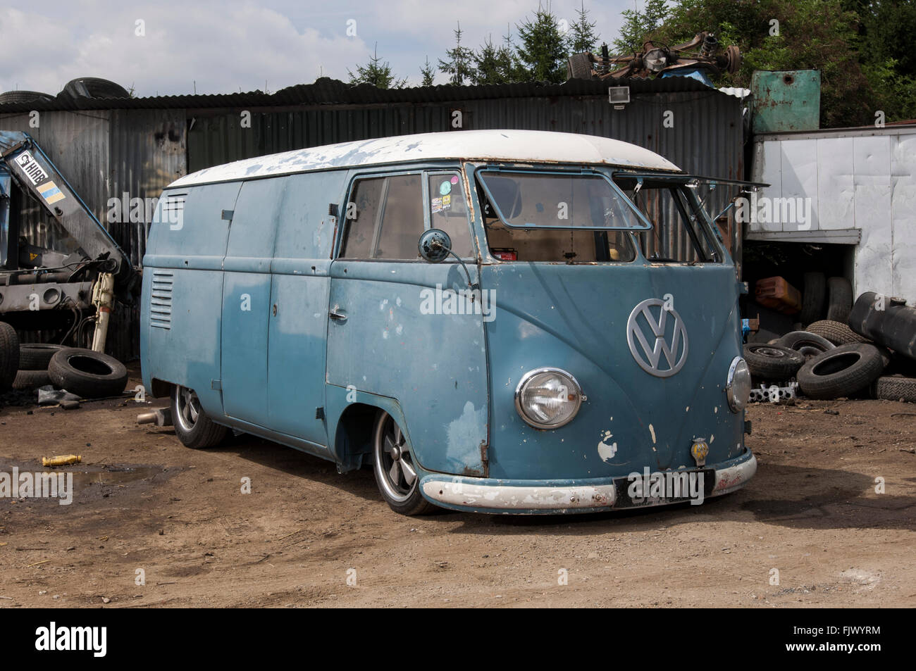 1951 VW split screen panel van, rat look tatty and lowered suspension Stock Photo: 97686280 - Alamy