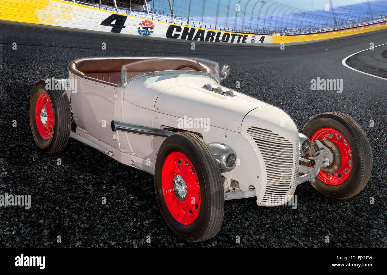 An illustrative style image of a Model T Track Roadster  hot rod - Stock Image