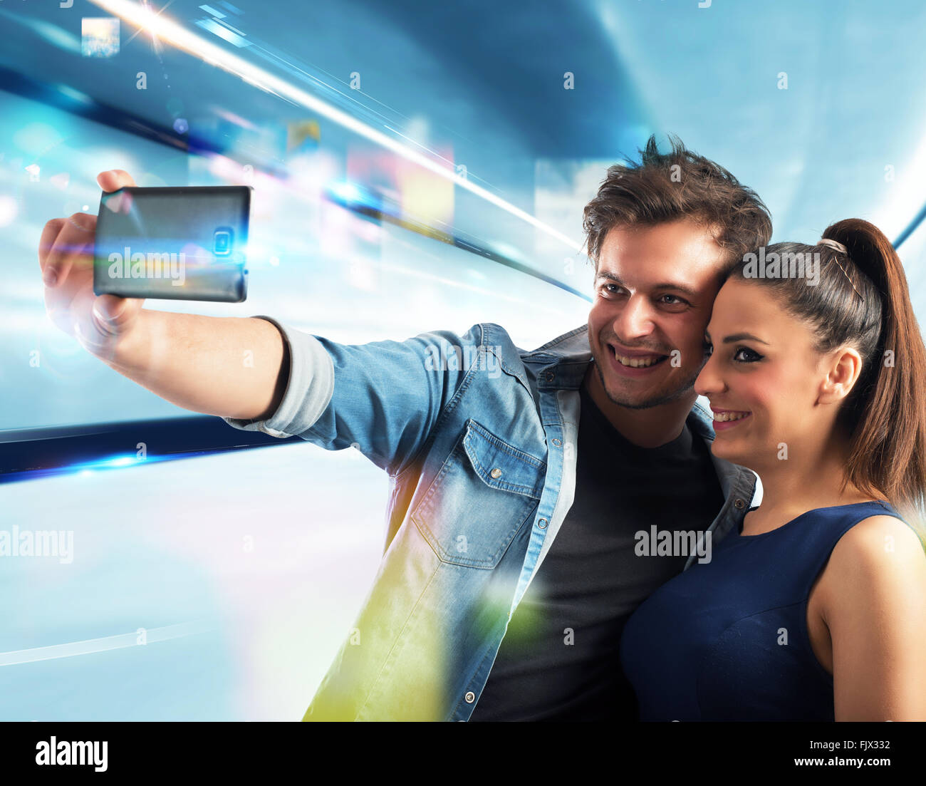 Smiling couple selfie - Stock Image