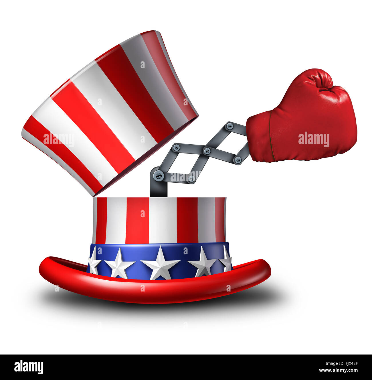 American election fight and political strategy concept for campaigning for votes as an open uncle sam top hat decorated - Stock Image