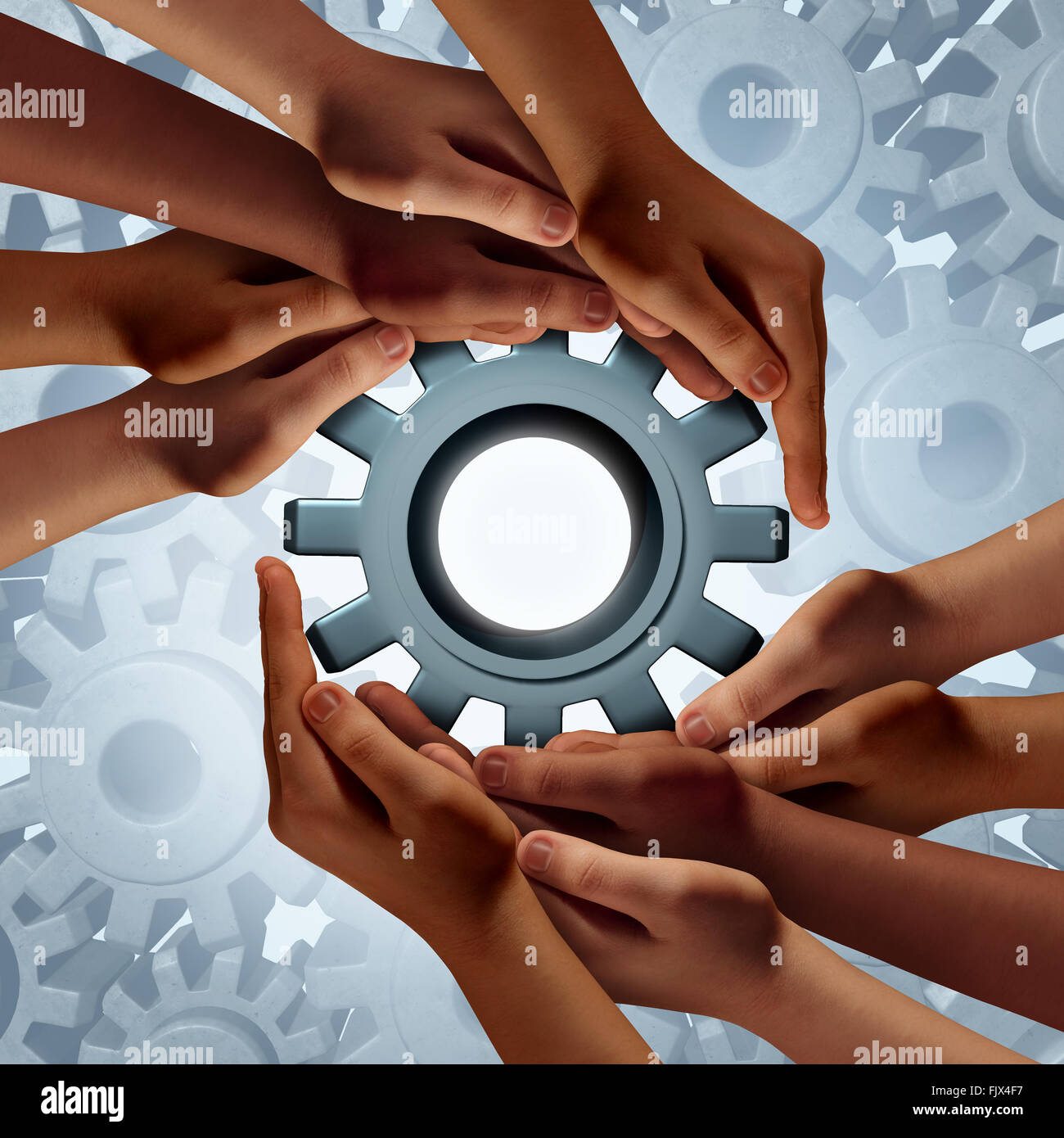 Global engineering and diverse community business success symbol as a group of hands holding a gear or cog as a - Stock Image