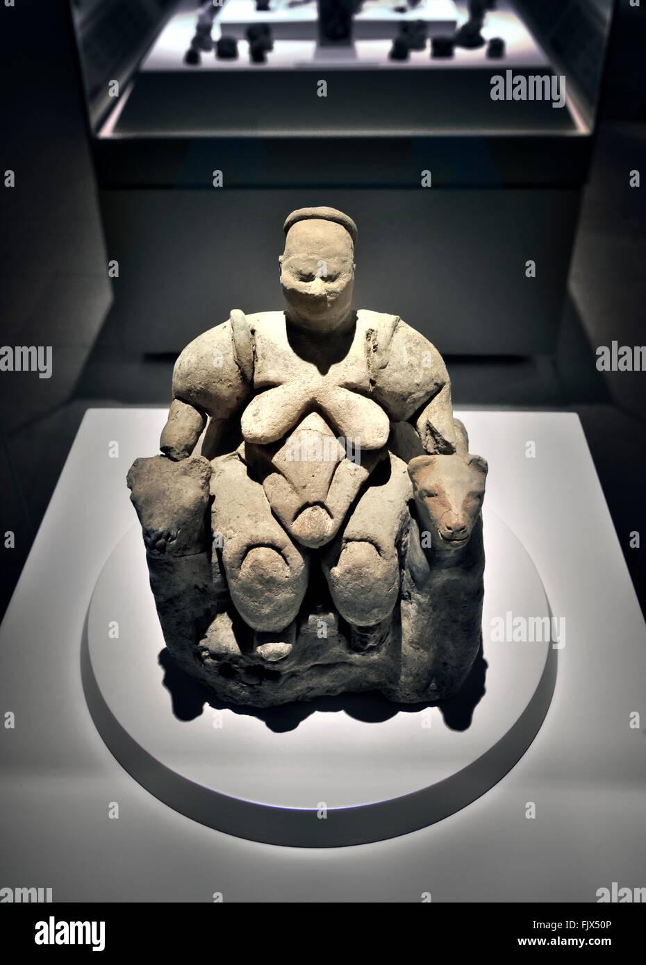 Terracota Mother Goddess 5700 BC from Neolithic settlement of Catalhoyuk. Museum of Anatolian Civilizations, Ankara, - Stock Image