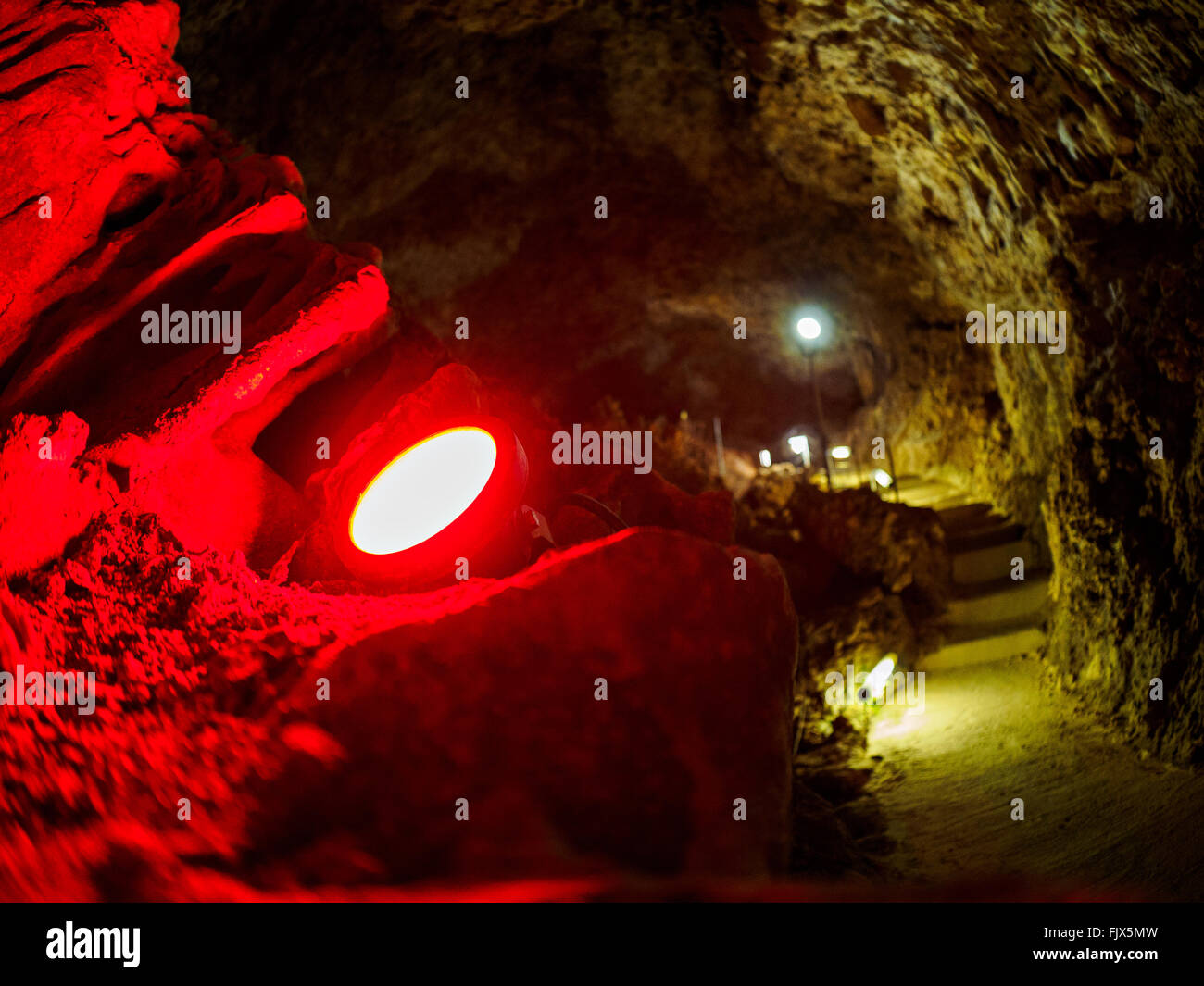 Interior Of Illuminated Cave - Stock Image