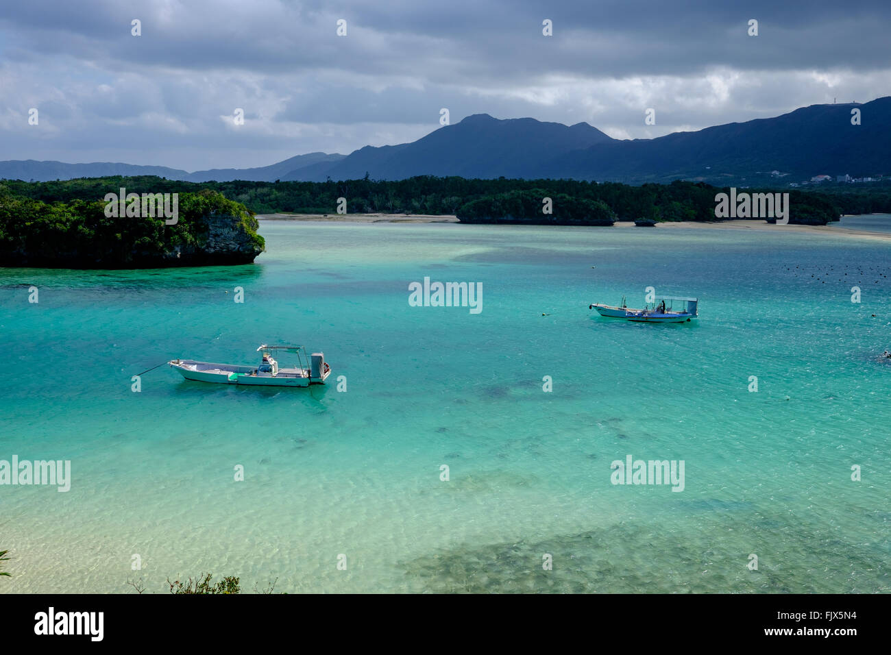 High Angle View Of Boats Moored On Sea At Ishigaki - Stock Image