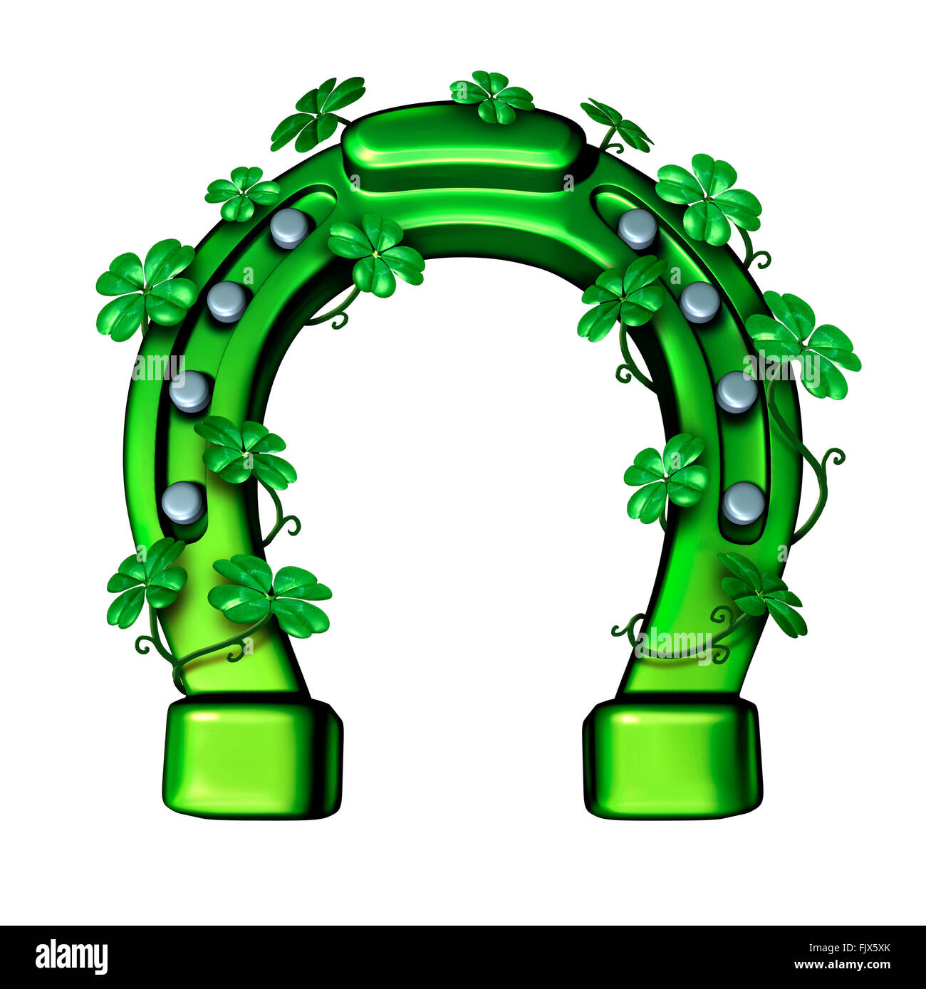 Green horseshoe as a lucky fortune symbol for saint patricks day or luck of the Irish icon wrapped with shamrock - Stock Image