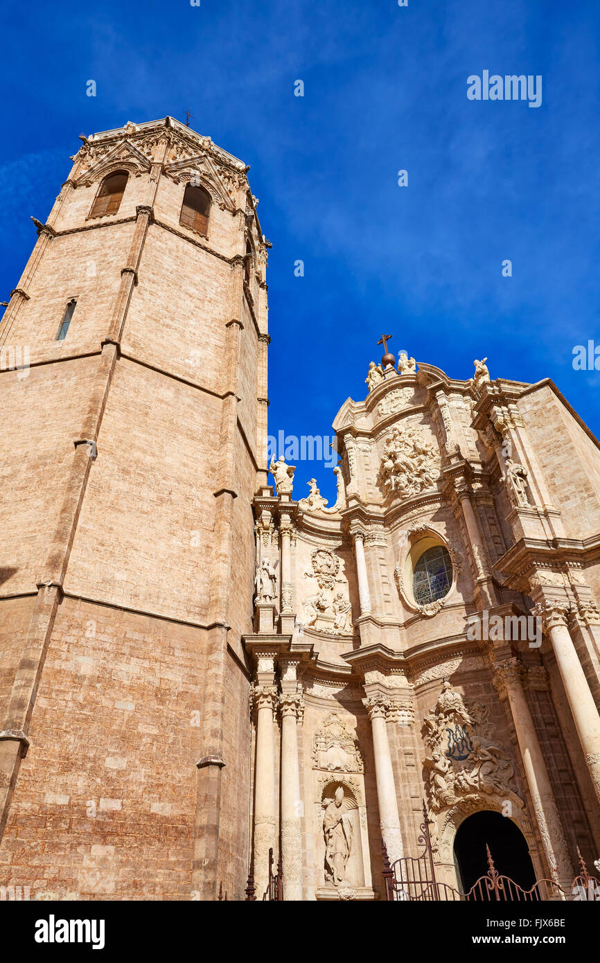 Valencia Cathedral and Miguelete tower Micalet in Spain Stock Photo