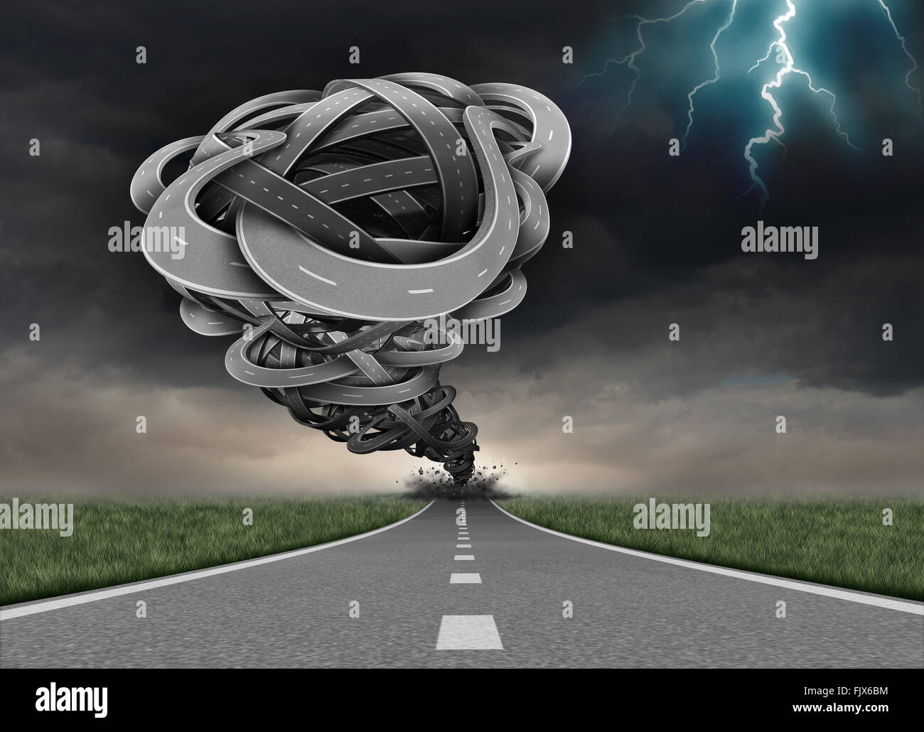 Tornado road concept as a group of twisted tangled streets shaped as a funnel twister destroying a path as a business - Stock Image
