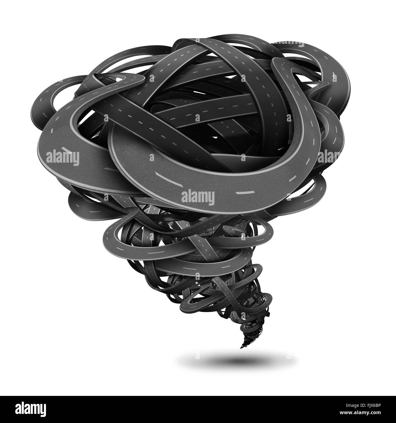 Powerful tornado made of twisted roads and tangled highways shaped as a dangerous funnel twister with destructive - Stock Image