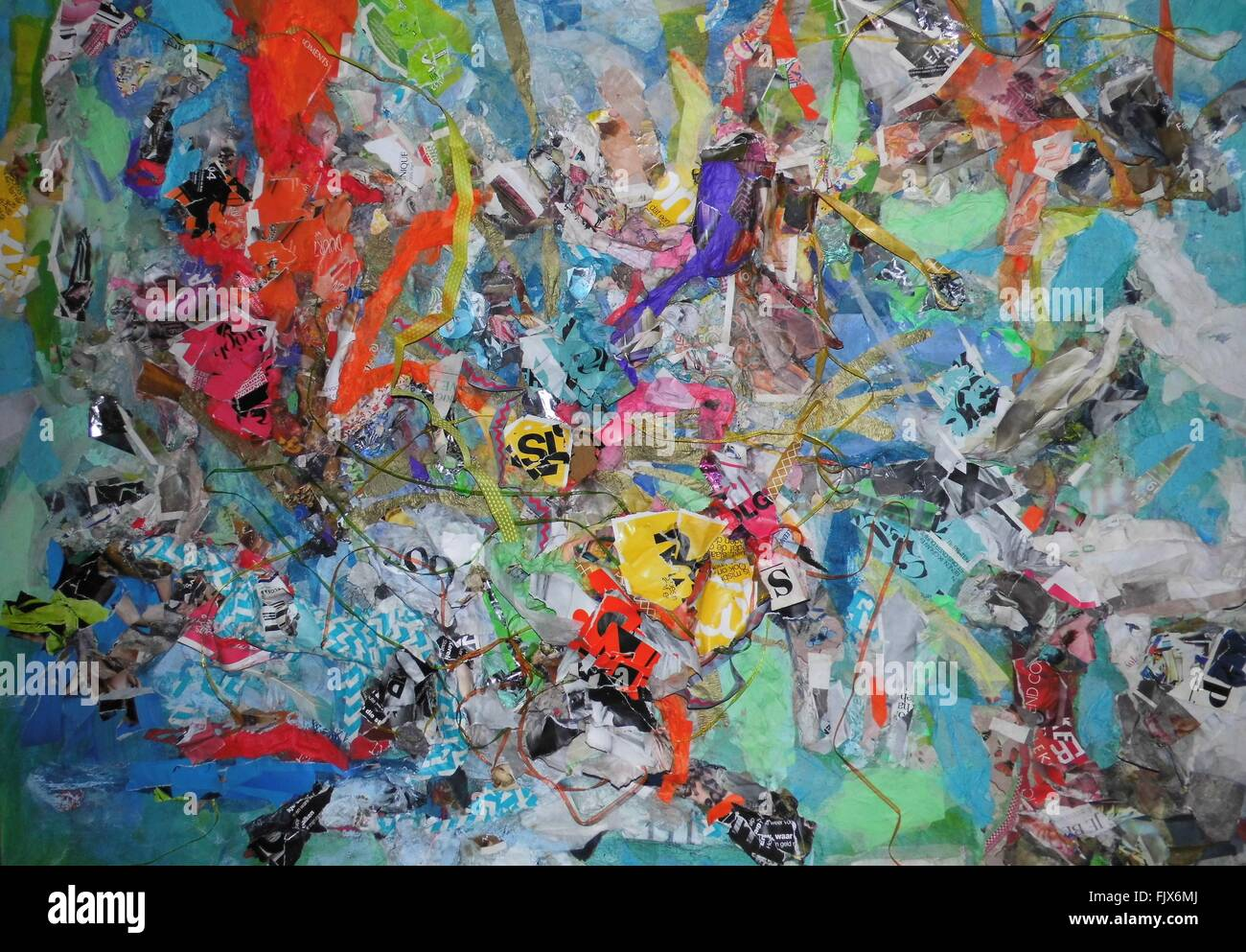 Full Frame Shot Of Multi Colored Paper Art On Wall - Stock Image