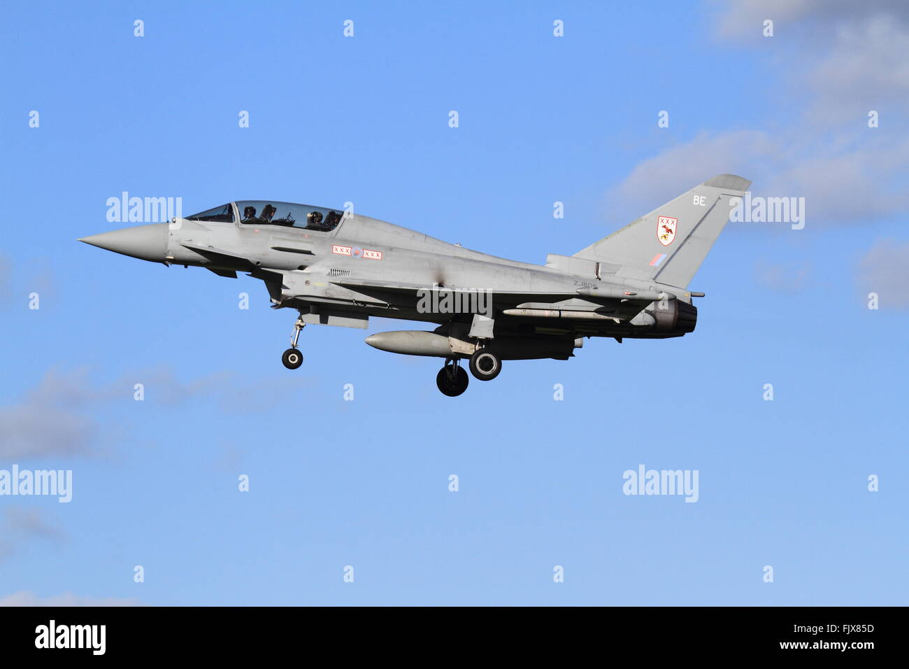 Royal Air Force Typhoon comes in to land at RAF Coningsby. - Stock Image